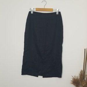 Precis Petite   Black Embroidered Pencil Skirt 6P